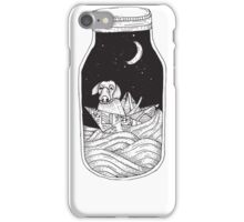 Dog in the bottle black and white iPhone Case/Skin