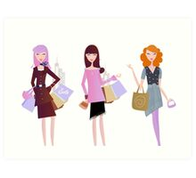 Women with shopping bags isolated on white Art Print