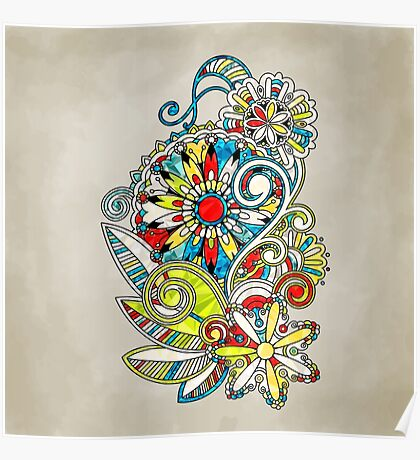 Abstract vector floral and ornamental item background Poster