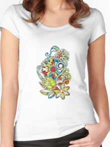 Abstract vector floral and ornamental item background Women's Fitted Scoop T-Shirt