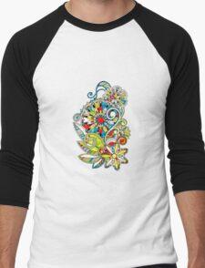 Abstract vector floral and ornamental item background Men's Baseball ¾ T-Shirt