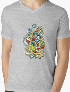 Abstract vector floral and ornamental item background Mens V-Neck T-Shirt