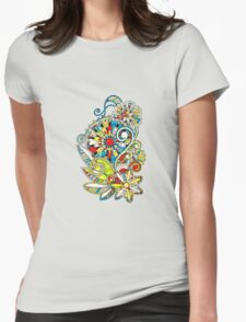Abstract vector floral and ornamental item background Womens Fitted T-Shirt