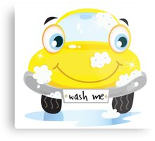 Car wash service - happy yellow automobile with soap bubbles Metal Print