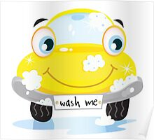 Car wash service - happy yellow automobile with soap bubbles Poster