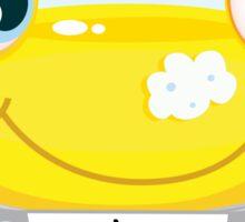 Car wash service - happy yellow automobile with soap bubbles Sticker