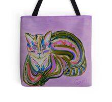 Purple - Hypno Rainbow Cat Tote Bag