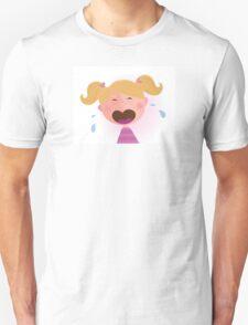 Crying baby girl. Crying small child Unisex T-Shirt