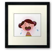 Crying baby girl. Crying small child - brown hair edition Framed Print