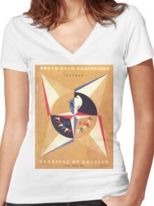 Vintage poster - Festival of Britain Women's Fitted V-Neck T-Shirt