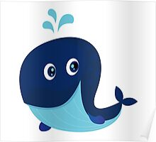 Big blue ocean cartoon whale Poster
