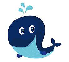 Big blue ocean cartoon whale Photographic Print