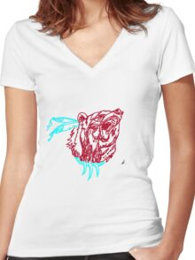 Indian-Style Bear Design Women's Fitted V-Neck T-Shirt