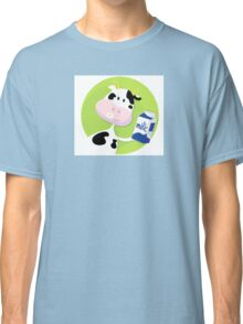 Happy cow with milk box on green background Classic T-Shirt