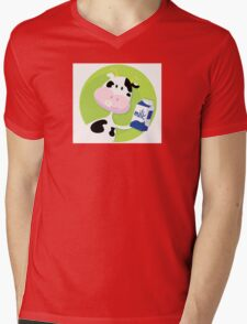 Happy cow with milk box on green background Mens V-Neck T-Shirt