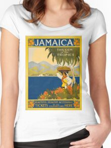 Vintage poster - Jamaica Women's Fitted Scoop T-Shirt