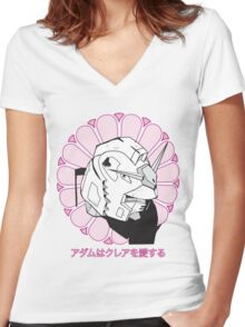 Gundam Buddha Women's Fitted V-Neck T-Shirt
