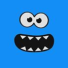 Funny Monster Smiley (Om Nom Nom Style) Face (blue background) by badbugs