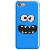Funny Monster Smiley (Om Nom Nom Style) Face (blue background) iPhone Case/Skin