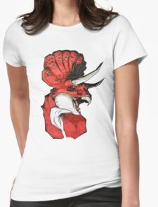 Triceratops (red) Womens Fitted T-Shirt