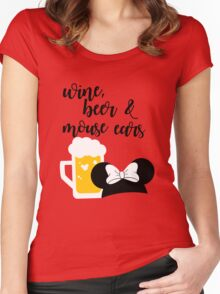 Wine, Beer & Mouse Ears for Girls by Last Petal Tees Women's Fitted Scoop T-Shirt