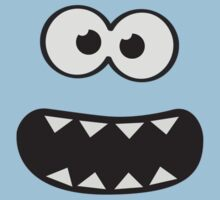 Funny Monster Smiley (Om Nom Nom Style) Face (blue background) One Piece - Short Sleeve