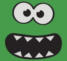Funny Monster Smiley (Om Nom Nom Style) Face (blue background) One Piece - Short Sleeve