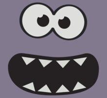 Funny Monster Smiley (Om Nom Nom Style) Face (blue background) Kids Tee
