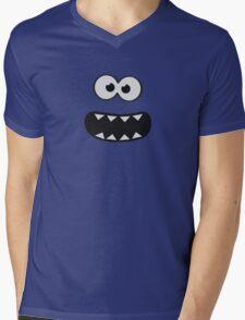 Funny Cookie Monster (Smiley Comic) Face (blue background)) Mens V-Neck T-Shirt