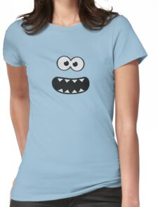 Funny Monster Smiley (Om Nom Nom Style) Face (blue background) Womens Fitted T-Shirt