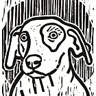 Dog Portrait Linocut  by Adam Regester