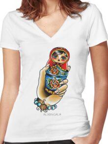 Hand Holding Matryoshka  Women's Fitted V-Neck T-Shirt