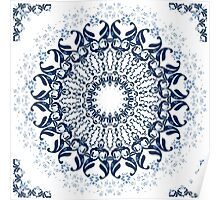 Blue ornament on a white background.  Poster