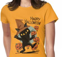Cat Halloween Womens Fitted T-Shirt