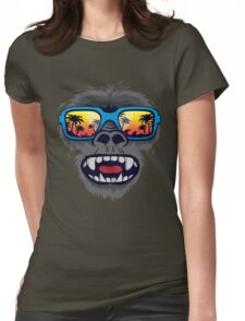 Gorilla monkey with tropical sunglasses Womens Fitted T-Shirt