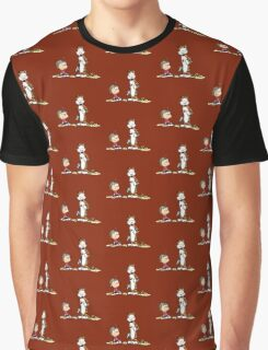 Calvin And Hobbes playing Graphic T-Shirt