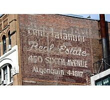 New York City:  Real Estate Ghost Sign Photographic Print