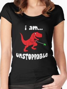 Funny Im Unstoppable Dinosaur Movies T-Shirt Women's Fitted Scoop T-Shirt