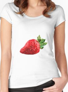 Oil Pastel Strawberry Women's Fitted Scoop T-Shirt