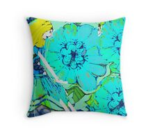 Sitting Amongst Flowers  Throw Pillow