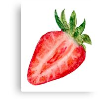 Open Face Strawberry Oil Pastels Canvas Print
