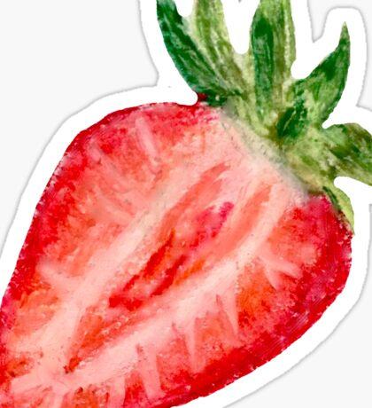 Open Face Strawberry Oil Pastels Sticker