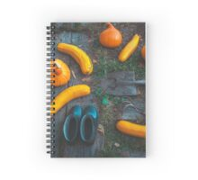 Harvest of local rural farmer. Halloween pumpkins. Village landscape. Spiral Notebook