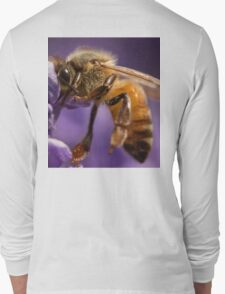 Honey bee on Lavender Long Sleeve T-Shirt