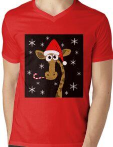 Christmas giraffe Mens V-Neck T-Shirt