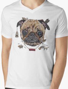 Les Pug Mens V-Neck T-Shirt