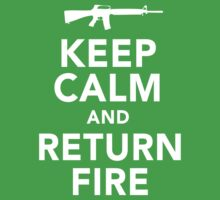 Funny 'Keep Calm and Return Fire' Machine Gun T-Shirt by Albany Retro