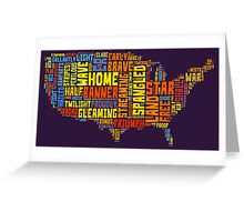 United States of America Map Star Spangled Banner Typography Greeting Card