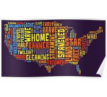 United States of America Map Star Spangled Banner Typography Poster