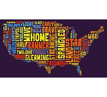 United States of America Map Star Spangled Banner Typography Photographic Print